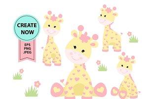 Girl Giraffe clipart yellow pink