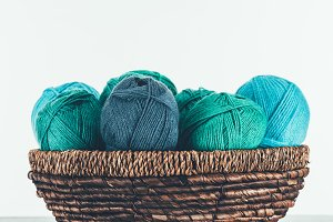 blue and green warm yarn balls in wi