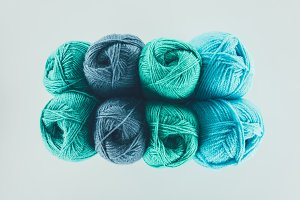 top view of blue and green knitting