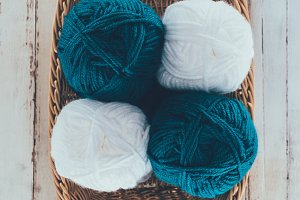 top view of white and blue knitting