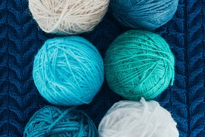 top view of different knitting yarn