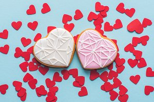 top view of heart shaped cookies and