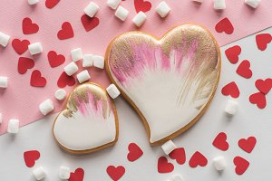 close up view of heart shaped cookie