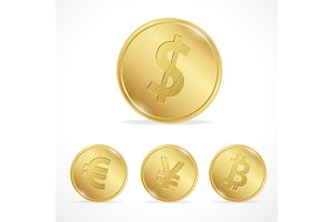 Vector gold coin euro dollar yena