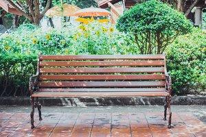 Wooden bench in the garden.