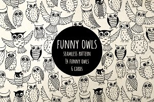 Funny Owls, pattern and cards