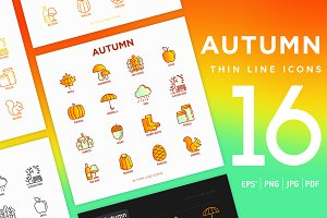 Autumn | 16 Thin Line Icons Set