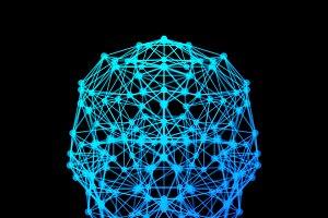 Human brain with digital network con