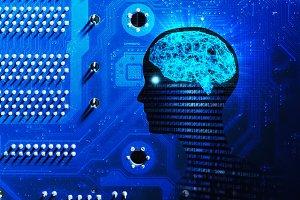 Side view of human head shape, brain
