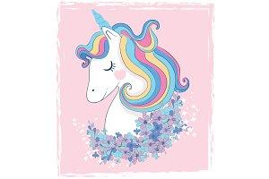 Beautiful unicorn. Animal love card.