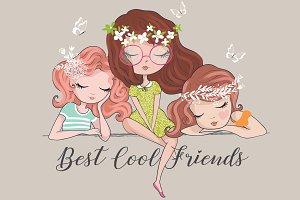 Three cute girls.Cartoon Characters.