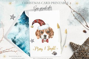 Christmas Watercolor Beagle Card