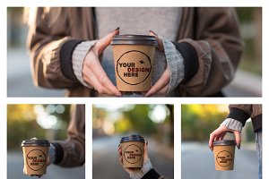 Set of 4 brown paper cup mockups