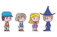 Retro cartoon kids boys and girls
