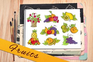 Fruits doodle design elements