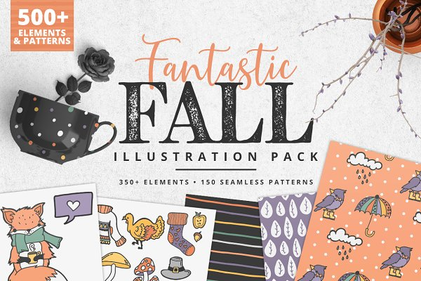 Illustrations and Illustration Products: Brandi Lea Designs - Fantastic Fall Illustration Pack