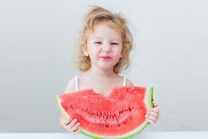 cute little baby girl eating