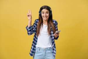 Portrait of music lover listening