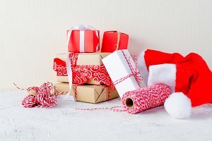christmas background with many gifts