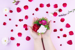 beauty hands with makeup flowers