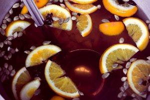 Mulled wine with soup ladle