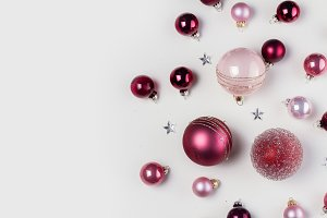 Christmas flat lay scene with glass