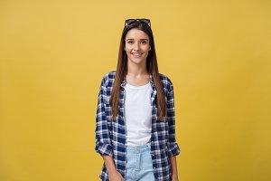 Headshot Portrait of happy girl with