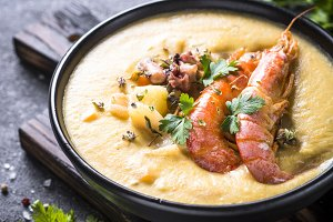 Chowder soup with seafood and prawn