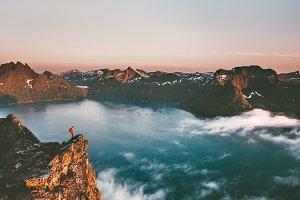 Norway travel man tourist alone