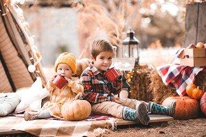 Kids with autumn decor