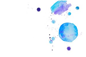 Blue watercolor spots