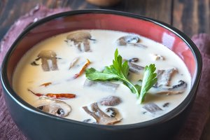 Bowl of thai tom kha soup