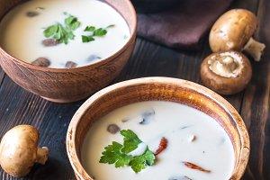 Bowls of thai tom kha soup