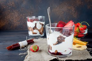 Delicious trifle dessert in a glass