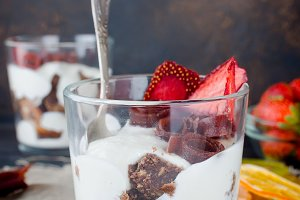 Delicious trifle dessert in a glass