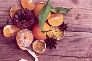 art bouquet of tangerines