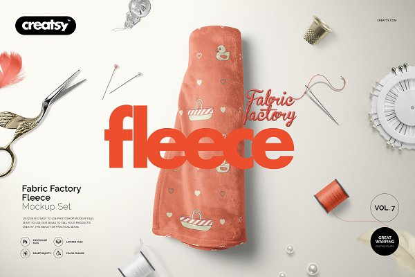 Product Mockups: Creatsy - Fabric Factory v.7 Fleece Mockup Set