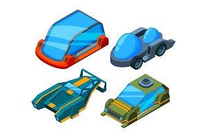 Futuristic isometric cars. Vector 3d