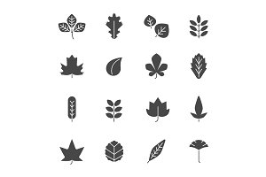 Autumn leaves icons. Silhouettes of