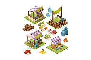 Local farm isometric. Food