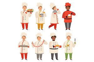Cook characters. Chef at kitchen