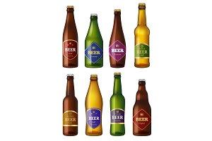 Beer bottles labels. Alcohol cold