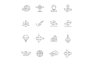 Aircraft line icons. Airplane