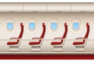 Passenger plane interior. Aircraft