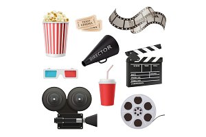 Movie 3d icons. Camera cinema stereo