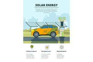 Infographics of electro cars. Eco