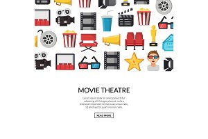Vector flat cinema icons background