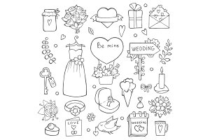 Various wedding day symbols. Vector