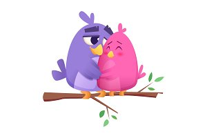 Love bird couples. Male and female