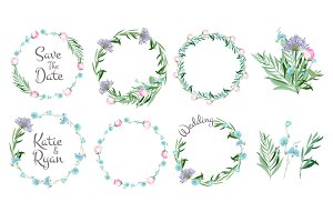 Floral frames. Circle shapes with